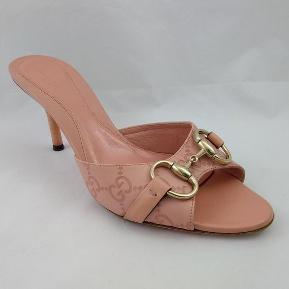 32940628b2a Gucci Shoes - Gucci 6.5 Heels Pink Slides Gold Horsebit Peep Toe